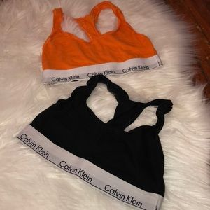 Beautiful orange and Black Calvin Klein Bralettes